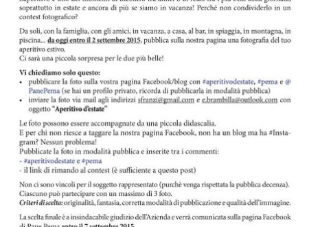 CONTEST PANE PEMA APERITIVO D'ESTATE